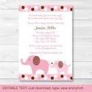 Pink Polka Dot Elephants Printable Baby Shower Invitation Editable PDF #A188