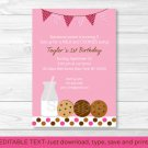 Cookies & Milk Printable Birthday Invitation Editable PDF #A189