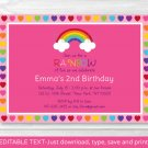 Rainbow Hearts Printable Birthday Invitation Editable PDF #A190