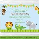 Baby Safari Jungle Printable Birthday Invitation Editable PDF #A193