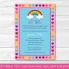 Rainbow Hearts Printable Baby Shower Invitation Editable PDF #A194