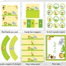 Bright Safari Jungle Animals Printable Baby Shower Party Package #A196
