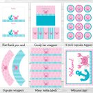 Pink Crab Under The Sea Nautical Printable Birthday Party Package #A206