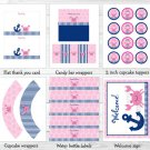 Pink Crab Under The Sea Nautical Anchor Printable Birthday Party Package #A207