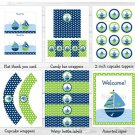 Sail Away Sailboat Nautical Blue Green Printable Baby Shower Party Package #A210