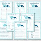 Mom & Baby Whales Aqua & Navy Blue Baby Shower Games Pack - 8 Printable Games #A211