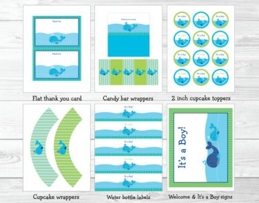 Lil Blue Whale Nautical Baby Boy Printable Baby Shower Party Package #A215
