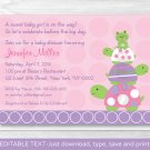 Pink Turtle Stacked Frog Printable Baby Shower Invitation Editable PDF #A217