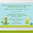 Pond Pals Turtle Frog Printable Baby Shower Invitation Editable PDF #A219