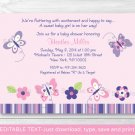 Pink Purple Butterfly Garden Printable Baby Shower Invitation Editable PDF #A220