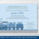 Choo Choo Train Baby Boy Printable Baby Shower Invitation Editable PDF #A224