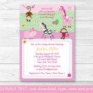 Pink Safari Jungle Animals Printable Baby Shower Invitation Editable PDF #A225