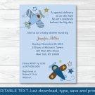 Lil Aviator Stars And Stripes Printable Baby Shower Invitation Editable PDF #A226