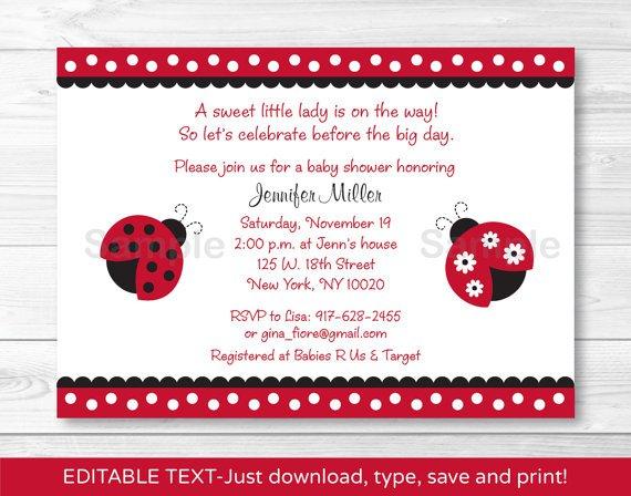 Red Lil Ladybug Printable Baby Shower Invitation Editable PDF #A177