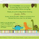 Dinosaur Friends Printable Baby Shower Invitation Editable PDF #A132