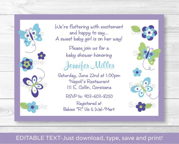 Butterfly Paradise Lavender Printable Baby Shower Invitation Editable PDF #A231