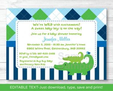 Preppy Alligator Argyle Printable Baby Shower Invitation Editable PDF #A232