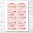 Safari Girl Jungle Animals Printable Baby Shower Diaper Raffle Tickets #A229