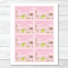 Safari Girl Jungle Animal Printable Baby Shower Book Request Cards #A229