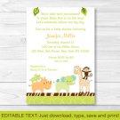 Wildlife Jungle Animals Baby Girl Printable Baby Shower Invitation Editable PDF #A236
