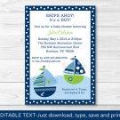Sail Away Sailboat Nautical Green Printable Baby Shower Invitation Editable PDF #A210