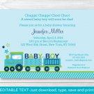 Green Choo Choo Train Baby Boy Printable Baby Shower Invitation Editable PDF #A238