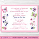Pink Beautiful Butterfly Paradise Printable Baby Shower Invitation Editable PDF #A239