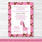Pink Giraffe Jungle Safari Printable Baby Shower Invitation Editable PDF #A240