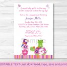 Tropical Garden Pond Frog Turtle Printable Baby Shower Invitation Editable PDF #A241