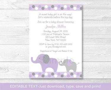 Lavender Polka Dot Jungle Elephant Printable Baby Shower Invitation Editable PDF #A242