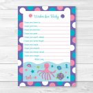 Under The Sea Nautical Pink Printable Baby Shower Wishes For Baby Advice Cards #A145