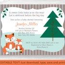 Woodland Fox Birch Tree Mom & Baby Printable Baby Shower Invitation Editable PDF #A245