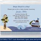 Ahoy Mate Nautical Whale Island Monkey Baby Shower Invitation Editable PDF #A171