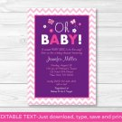 Chevron Oh Baby! Butterfly Purple Printable Baby Shower Invitation Editable PDF #A249