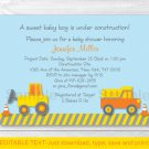 Construction Trucks Baby Boy Printable Baby Shower Invitation Editable PDF #A117