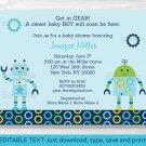 Baby Bots Boy Robot Printable Baby Shower Invitation Editable PDF #A252
