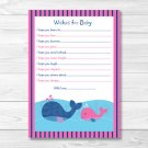 Lil Pink Whale Printable Baby Shower Wishes For Baby Advice Cards #A254