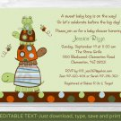 Mod Stacked Turtle Frog Printable Baby Shower Invitation Editable PDF #A255