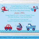 Transportation Around The Town Printable Baby Shower Invitation Editable PDF #A137