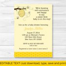 Lil Bumble Bee Happy As Can Bee Printable Baby Shower Invitation Editable PDF #A256