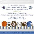 Sports All Star Play Ball Printable Baby Shower Invitation Editable PDF #A257