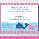 Lil Pink Whale Baby Shower Invitation Editable PDF #A254
