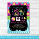 Girls Pool Party Printable Chalkboard Birthday Invitation Editable PDF #A258