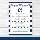 Nautical Anchor Navy Blue & Red Printable Baby Shower Invitation Editable PDF #A259