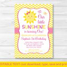 You Are My Sunshine Chevron Printable Birthday Invitation Editable PDF Any Age #A261