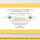 Sweet Little Bumble Bee Printable Baby Shower Invitation Editable PDF #A134
