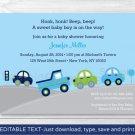 Around The Town Cars & Trucks Printable Baby Shower Invitation Editable PDF #A265