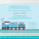Choo Choo Train Red Blue Baby Boy Printable Baby Shower Invitation Editable PDF #A268