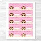 Lil Monkey Girl Jungle Safari Printable Baby Shower Diaper Raffle Tickets #A270