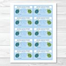 Sea Turtle Reef Printable Baby Shower Diaper Raffle Tickets #A144